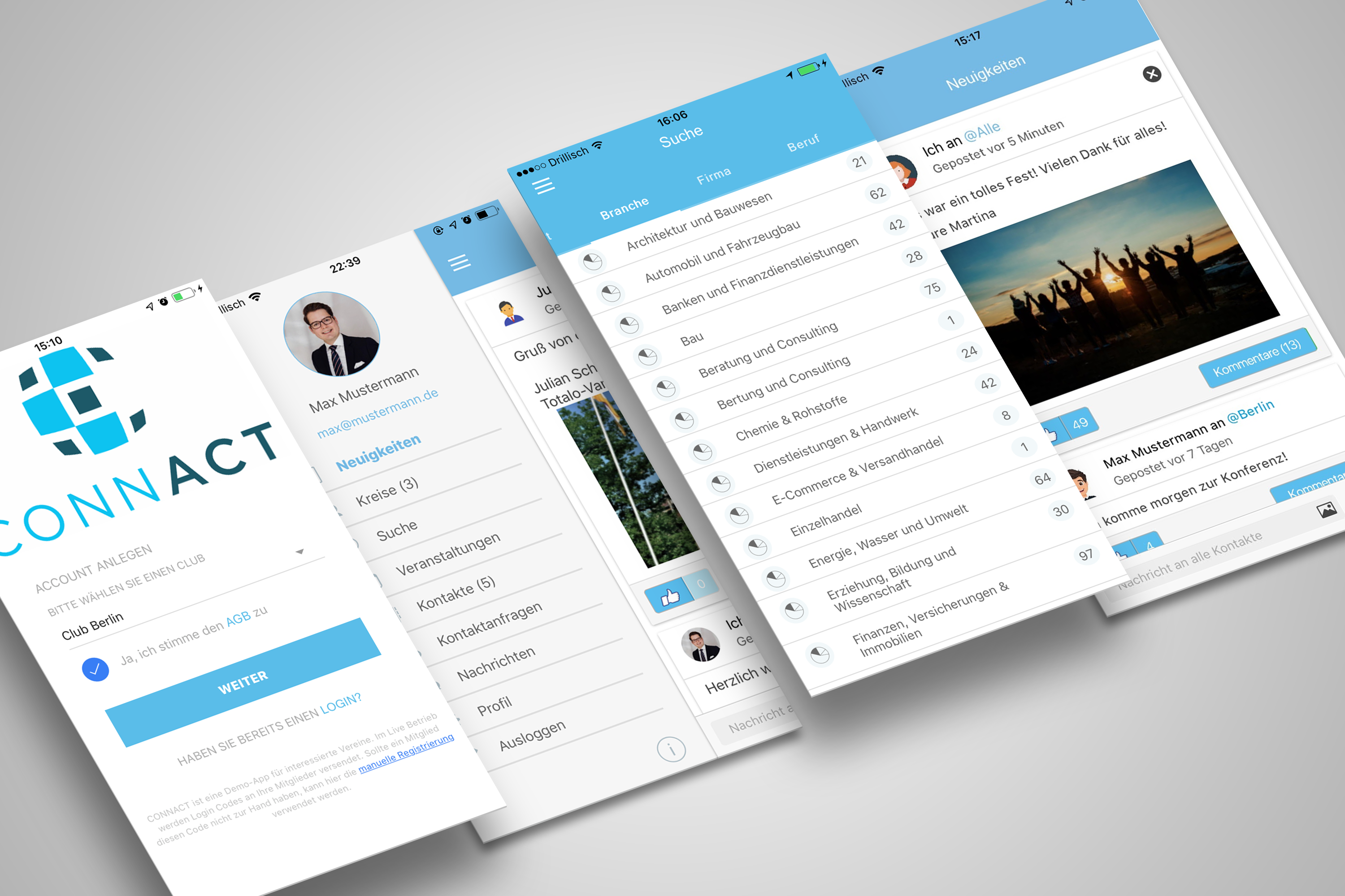 connact mobile app showcase